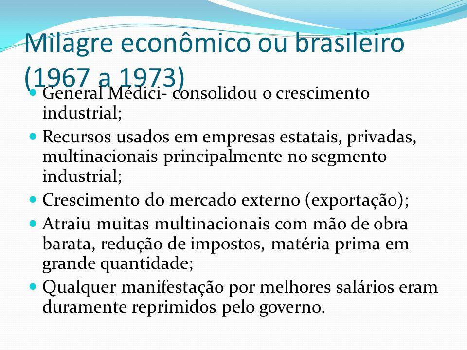 Milagre econômico ou brasileiro (1967 a 1973) General Médici- consolidou o crescimento industrial; Recursos usados em empresas estatais, privadas, mul