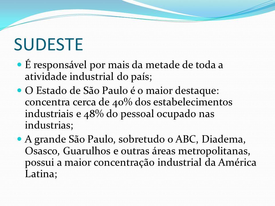 SUDESTE É responsável por mais da metade de toda a atividade industrial do país; O Estado de São Paulo é o maior destaque: concentra cerca de 40% dos