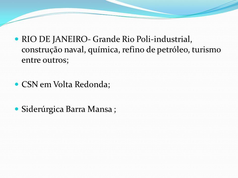 RIO DE JANEIRO- Grande Rio Poli-industrial, construção naval, química, refino de petróleo, turismo entre outros; CSN em Volta Redonda; Siderúrgica Bar