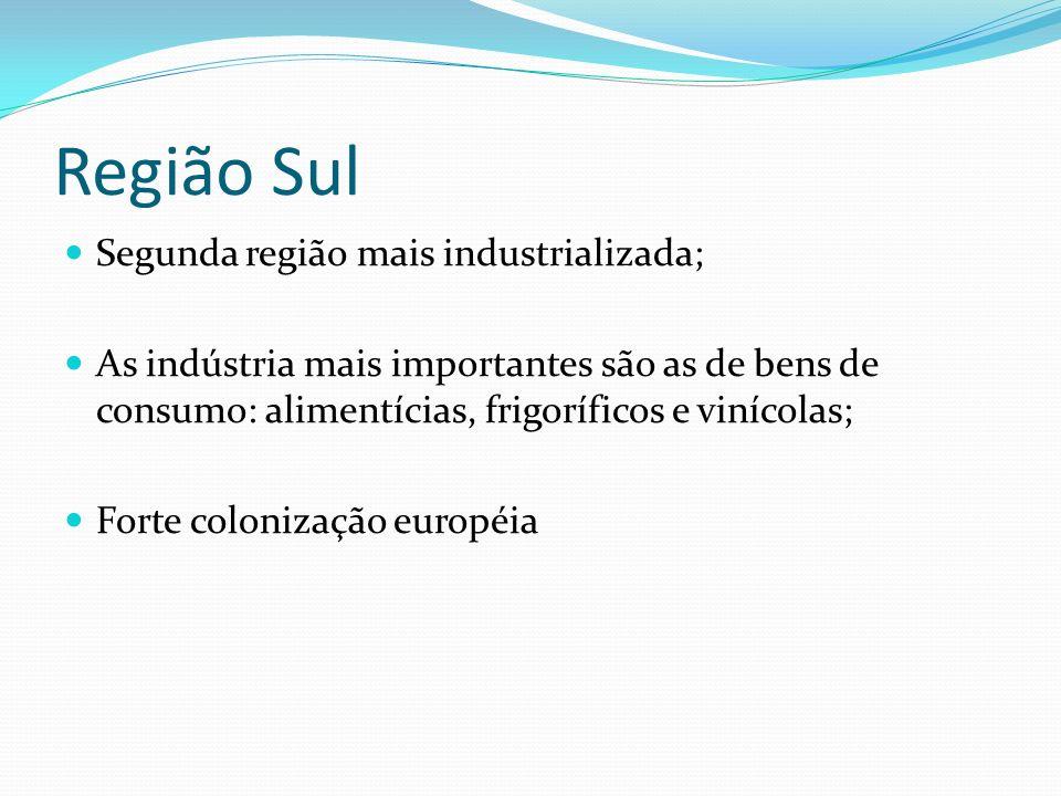 Região Sul Segunda região mais industrializada; As indústria mais importantes são as de bens de consumo: alimentícias, frigoríficos e vinícolas; Forte