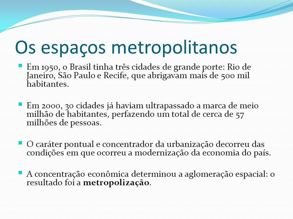 Os espaços metropolitanos Em 1950, o Brasil tinha três cidades de grande porte: Rio de Janeiro, São Paulo e Recife, que abrigavam mais de 500 mil habi