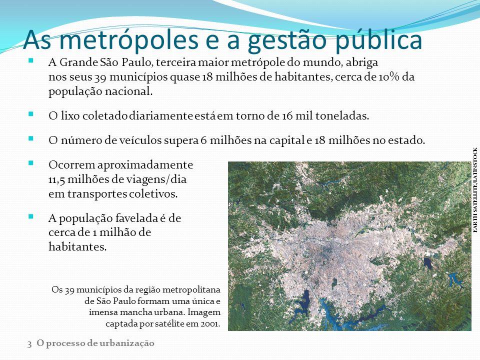 As metrópoles e a gestão pública A Grande São Paulo, terceira maior metrópole do mundo, abriga nos seus 39 municípios quase 18 milhões de habitantes,