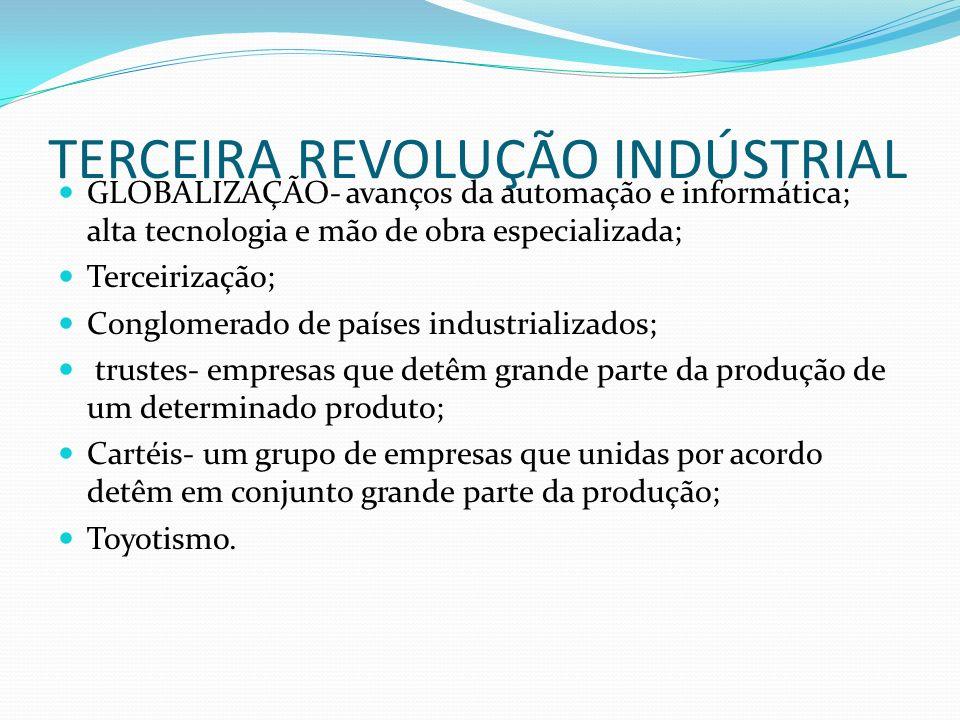 TERCEIRA REVOLUÇÃO INDÚSTRIAL GLOBALIZAÇÃO- avanços da automação e informática; alta tecnologia e mão de obra especializada; Terceirização; Conglomera