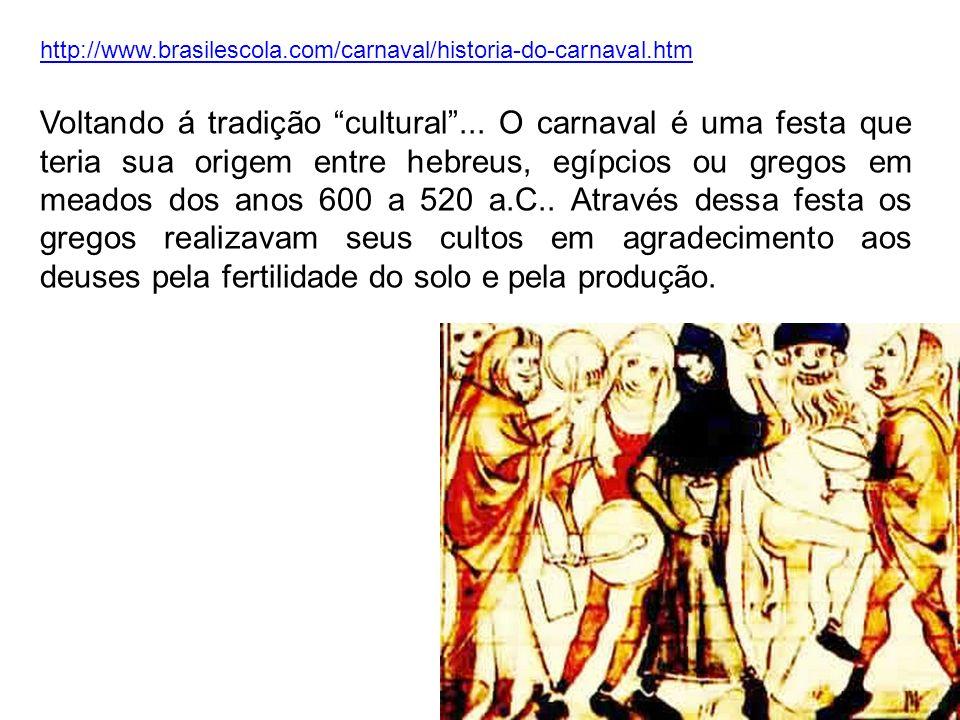 http://www.brasilescola.com/carnaval/historia-do-carnaval.htm Voltando á tradição cultural... O carnaval é uma festa que teria sua origem entre hebreu