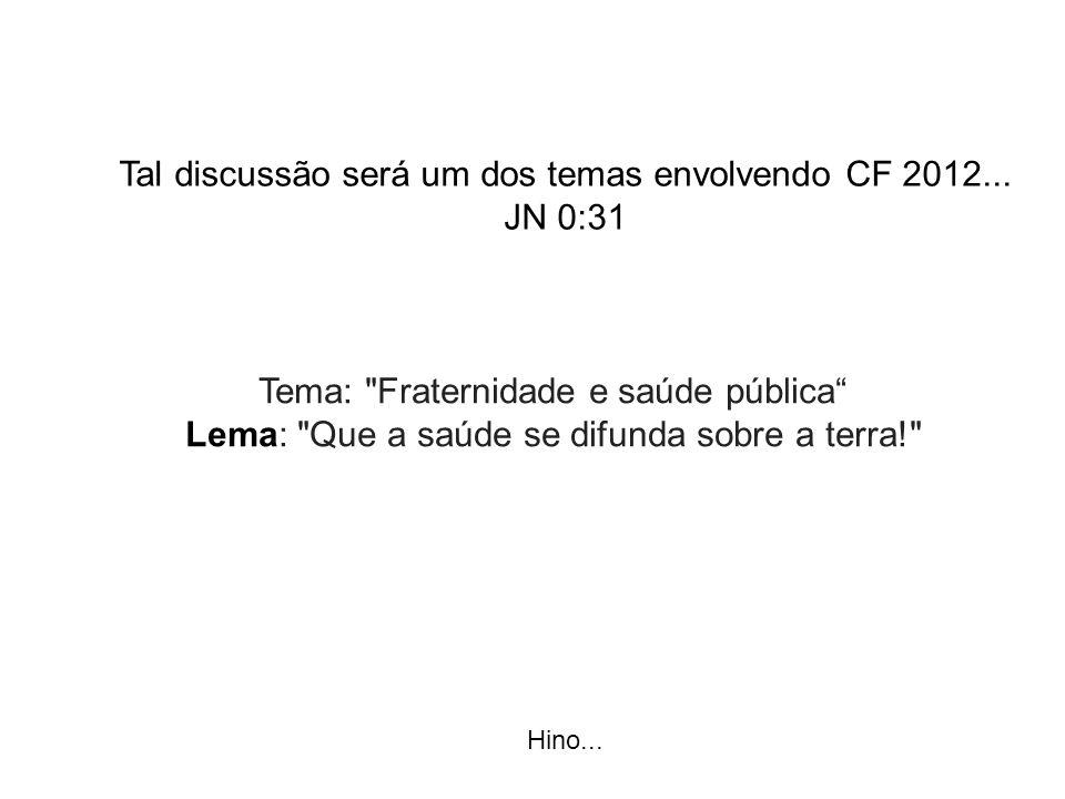 Tal discussão será um dos temas envolvendo CF 2012... JN 0:31 Hino... Tema: