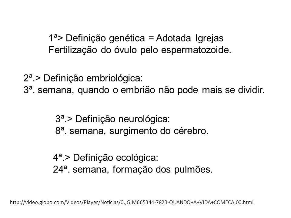 1ª> Definição genética = Adotada Igrejas Fertilização do óvulo pelo espermatozoide. 2ª.> Definição embriológica: 3ª. semana, quando o embrião não pode