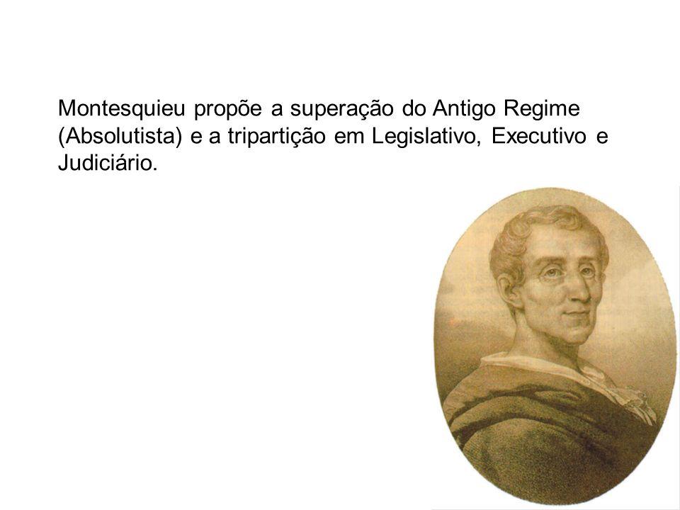 Montesquieu propõe a superação do Antigo Regime (Absolutista) e a tripartição em Legislativo, Executivo e Judiciário.