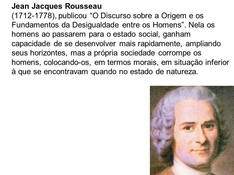 Jean Jacques Rousseau (1712-1778), publicou O Discurso sobre a Origem e os Fundamentos da Desigualdade entre os Homens. Nela os homens ao passarem par