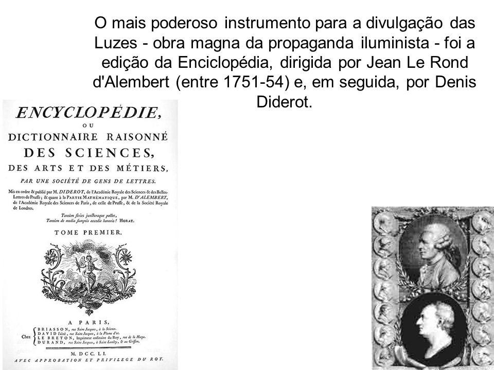 O mais poderoso instrumento para a divulgação das Luzes - obra magna da propaganda iluminista - foi a edição da Enciclopédia, dirigida por Jean Le Ron