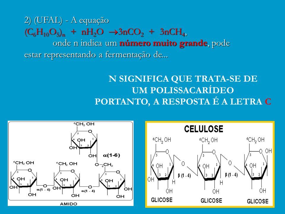 Exercício da Apostila – Página 104 2) (UFAL) - A equação 2) (UFAL) - A equação (C 6 H 10 O 5 ) n + nH 2 O 3nCO 2 + 3nCH 4, (C 6 H 10 O 5 ) n + nH 2 O