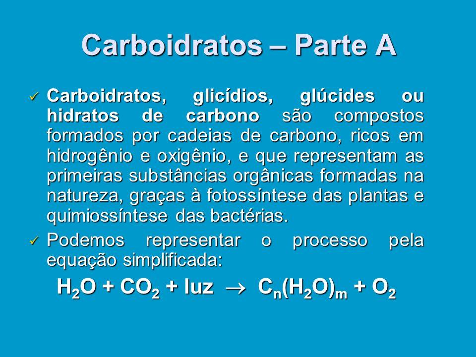 Carboidratos – Parte A Carboidratos, Carboidratos, glicídios, glúcides ou hidratos de carbono carbono são compostos formados por cadeias de carbono, ricos em hidrogênio e oxigênio, e que representam as primeiras substâncias orgânicas formadas na natureza, graças à fotossíntese das plantas e quimiossíntese das bactérias.