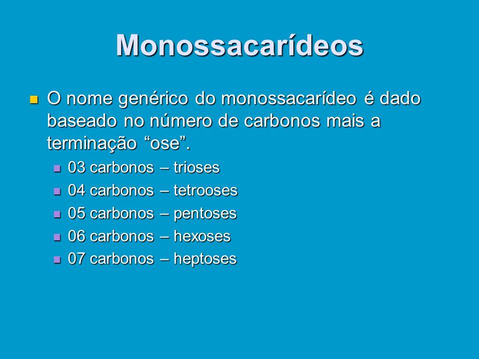 Classificação dos Carboidratos Aclassificação dos carboidratos está ligada ao número de monômeros, isto é, moléculas fundamentais. Os Os monossacaríde