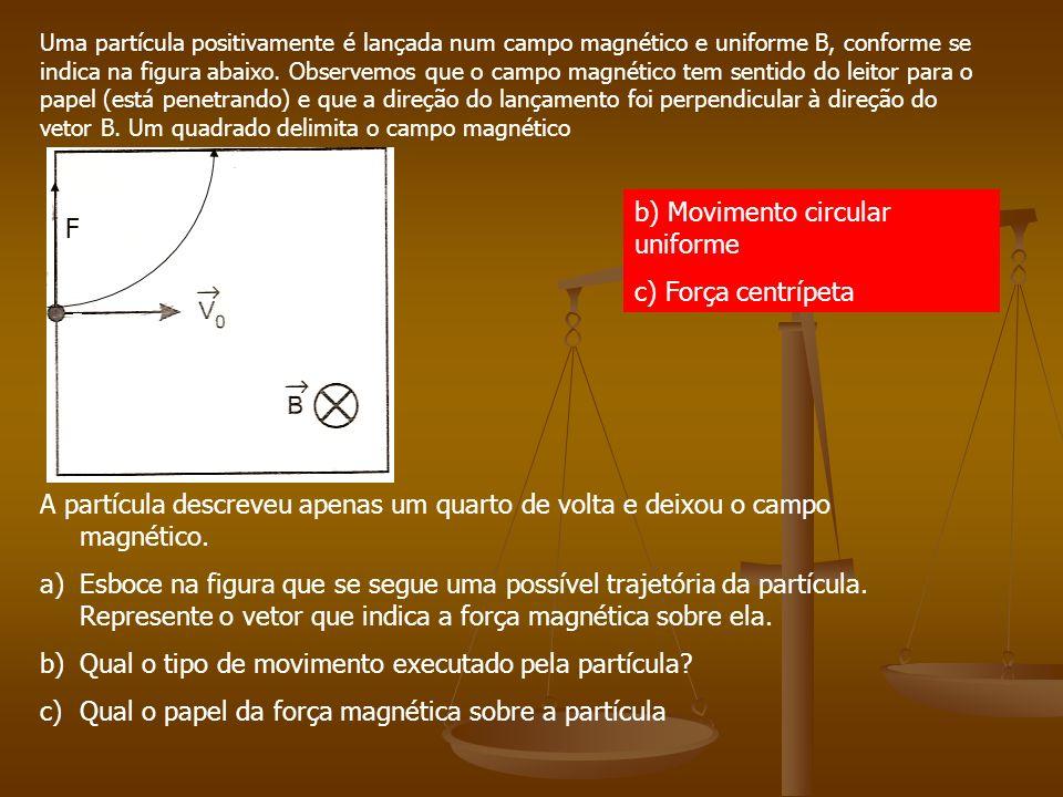 Exercícios 1(U.F.Ouro Preto) Uma partícula carregada penetra em uma região onde existe um campo magnético B, com velocidade V. Os vetores V e B são pe
