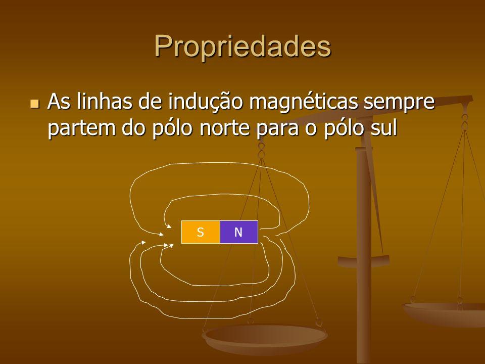 Propriedades As linhas de indução magnéticas sempre partem do pólo norte para o pólo sul As linhas de indução magnéticas sempre partem do pólo norte para o pólo sul SN