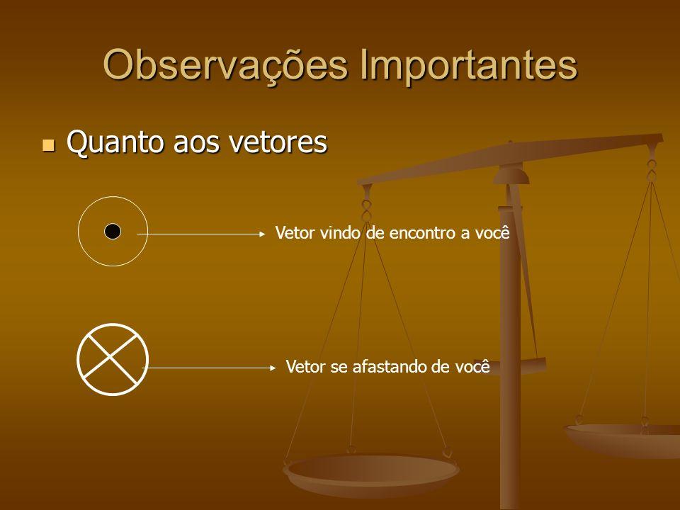 Observações Importantes Quanto aos vetores Quanto aos vetores Vetor vindo de encontro a você Vetor se afastando de você
