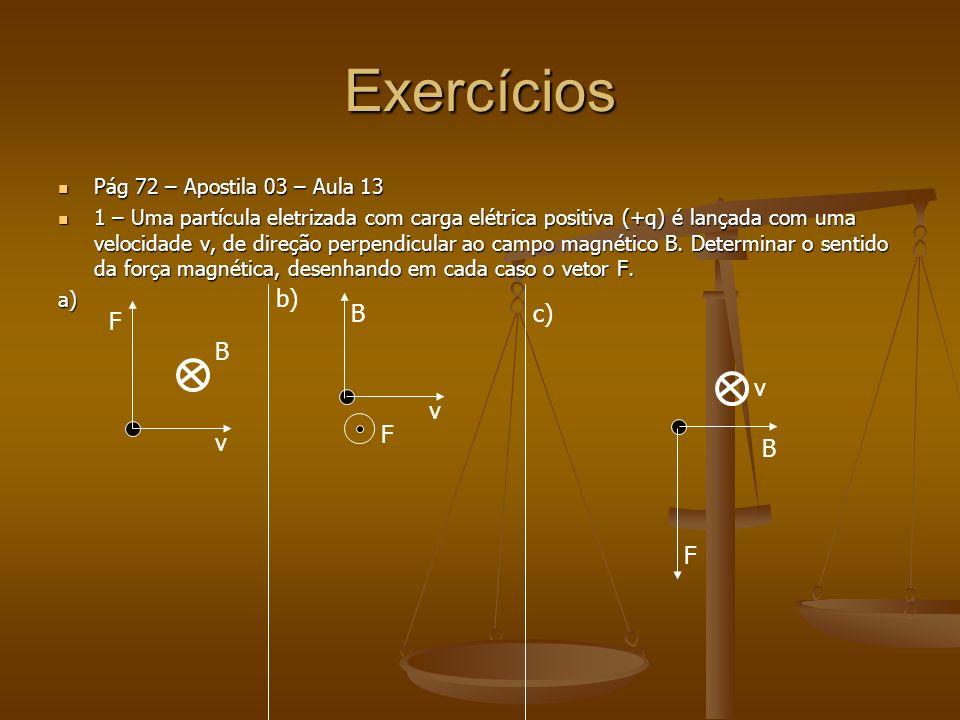 Exercícios Pág 72 – Apostila 03 – Aula 13 Pág 72 – Apostila 03 – Aula 13 1 – Uma partícula eletrizada com carga elétrica positiva (+q) é lançada com uma velocidade v, de direção perpendicular ao campo magnético B.