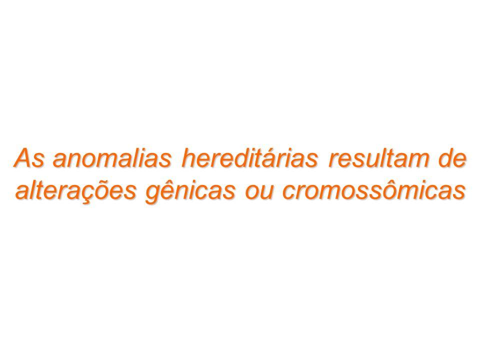 As anomalias hereditárias resultam de alterações gênicas ou cromossômicas