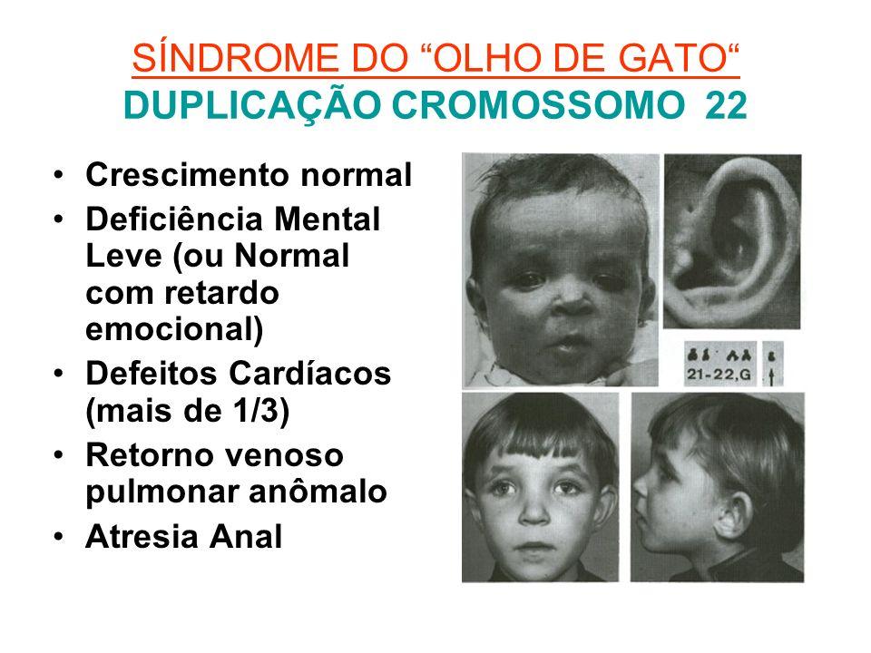 SÍNDROME DO OLHO DE GATO DUPLICAÇÃO CROMOSSOMO 22 Crescimento normal Deficiência Mental Leve (ou Normal com retardo emocional) Defeitos Cardíacos (mai
