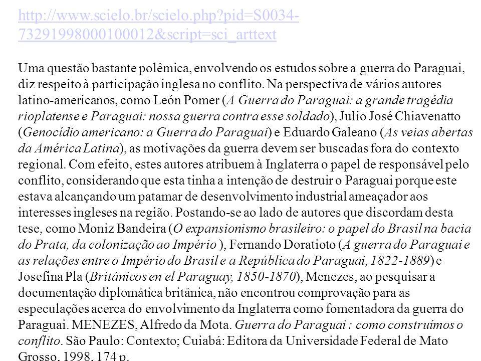 http://www.scielo.br/scielo.php?pid=S0034- 73291998000100012&script=sci_arttext Uma questão bastante polêmica, envolvendo os estudos sobre a guerra do