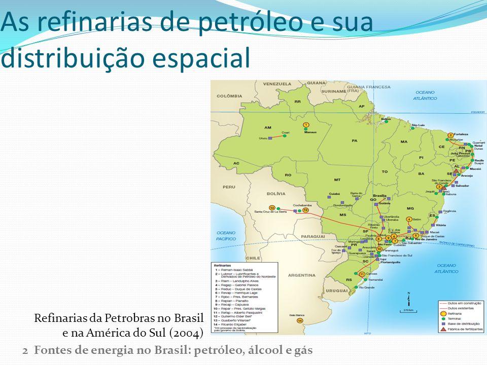 As refinarias de petróleo e sua distribuição espacial Refinarias da Petrobras no Brasil e na América do Sul (2004) 2 Fontes de energia no Brasil: petr