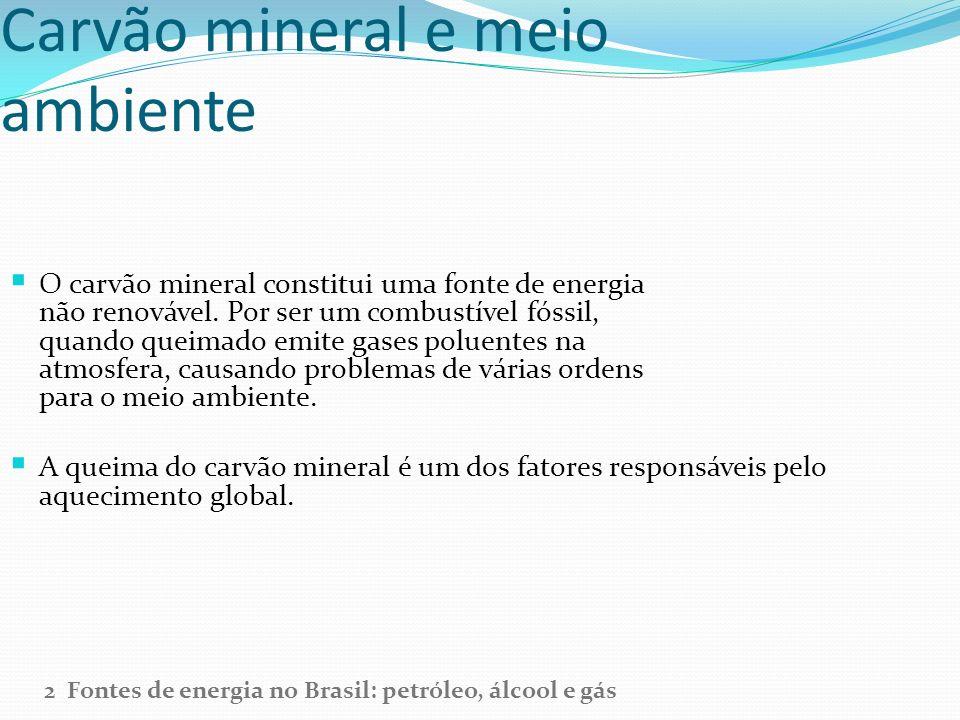Carvão mineral e meio ambiente O carvão mineral constitui uma fonte de energia não renovável. Por ser um combustível fóssil, quando queimado emite gas