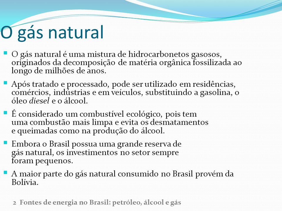 O gás natural O gás natural é uma mistura de hidrocarbonetos gasosos, originados da decomposição de matéria orgânica fossilizada ao longo de milhões d