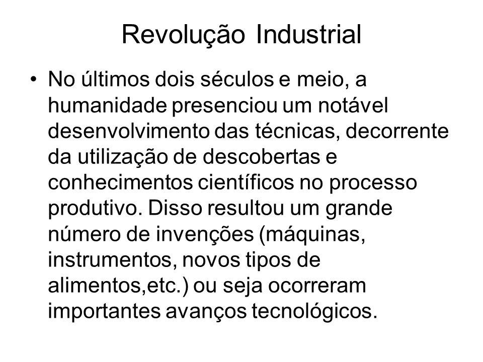 Revolução Industrial No últimos dois séculos e meio, a humanidade presenciou um notável desenvolvimento das técnicas, decorrente da utilização de descobertas e conhecimentos científicos no processo produtivo.