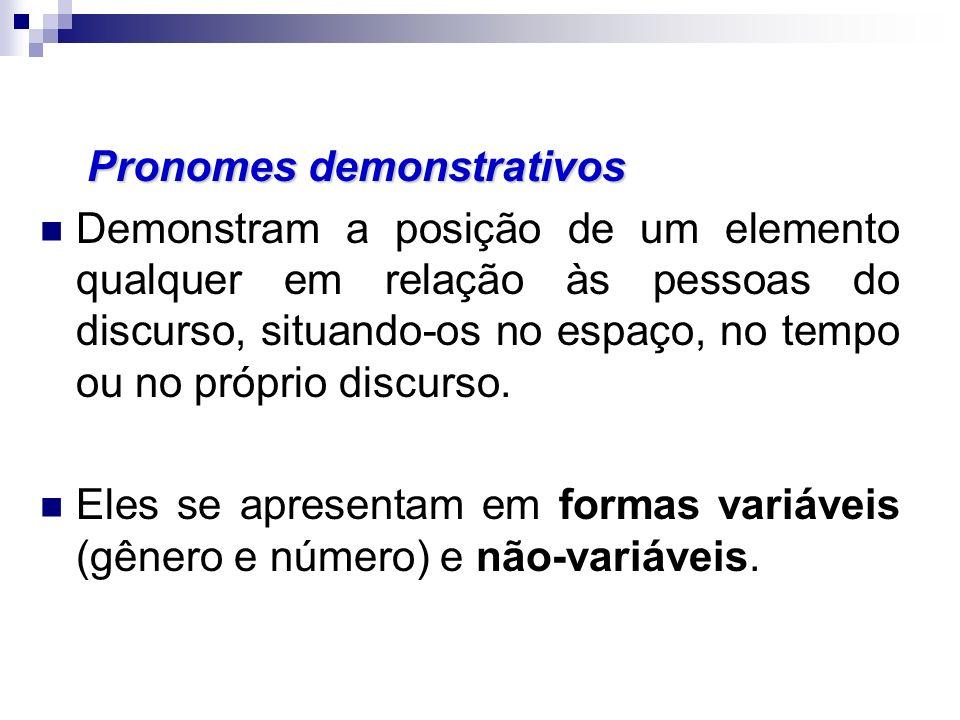 Pronomes demonstrativos Demonstram a posição de um elemento qualquer em relação às pessoas do discurso, situando-os no espaço, no tempo ou no próprio discurso.
