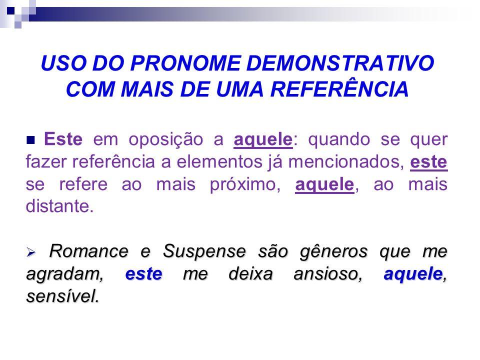 USO DO PRONOME DEMONSTRATIVO COM REFERÊNCIA AO DISCURSO Os pronomes demonstrativos servem para fazer referência ao que já foi dito e ao que se vai diz