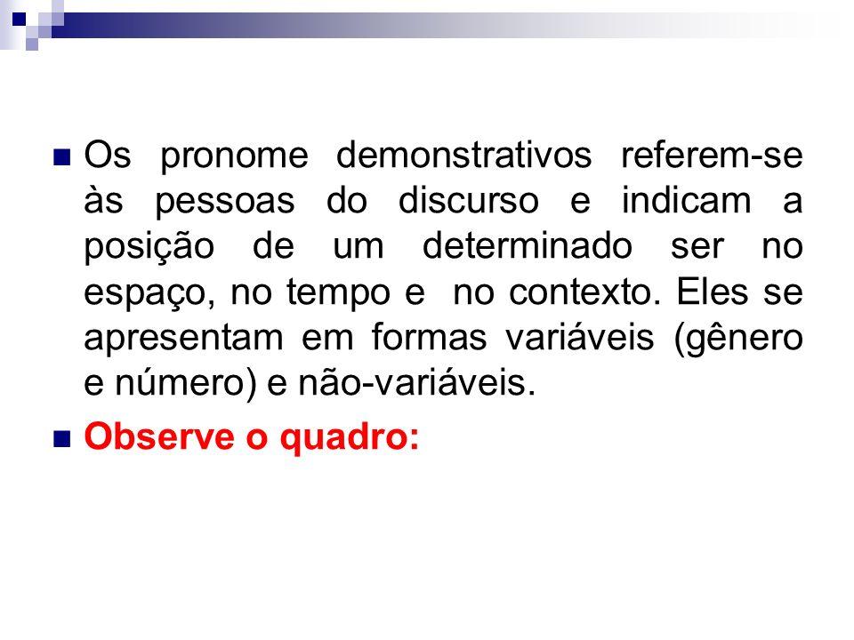 Os pronome demonstrativos referem-se às pessoas do discurso e indicam a posição de um determinado ser no espaço, no tempo e no contexto.