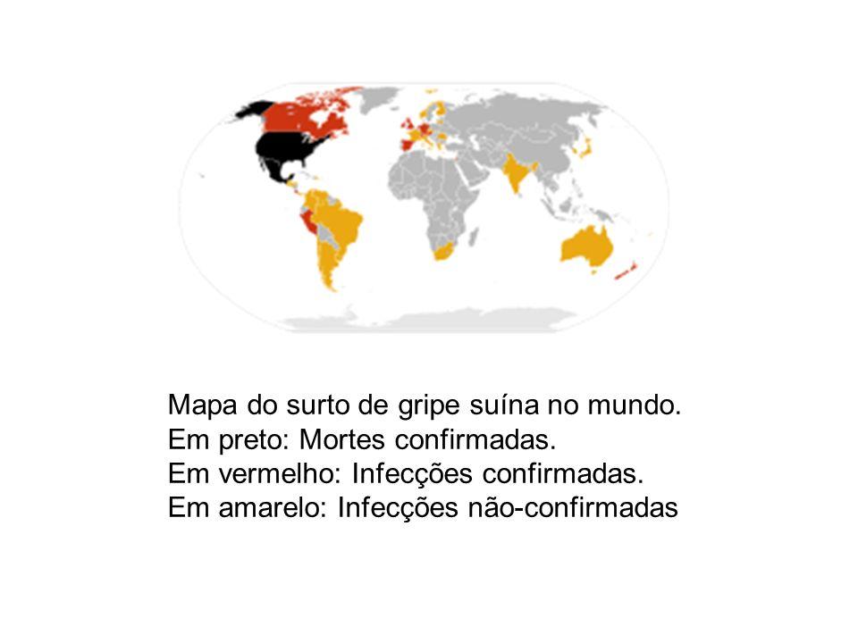 Mapa do surto de gripe suína no mundo. Em preto: Mortes confirmadas. Em vermelho: Infecções confirmadas. Em amarelo: Infecções não-confirmadas