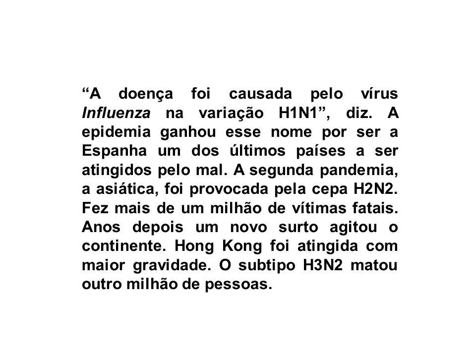 A doença foi causada pelo vírus Influenza na variação H1N1, diz. A epidemia ganhou esse nome por ser a Espanha um dos últimos países a ser atingidos p