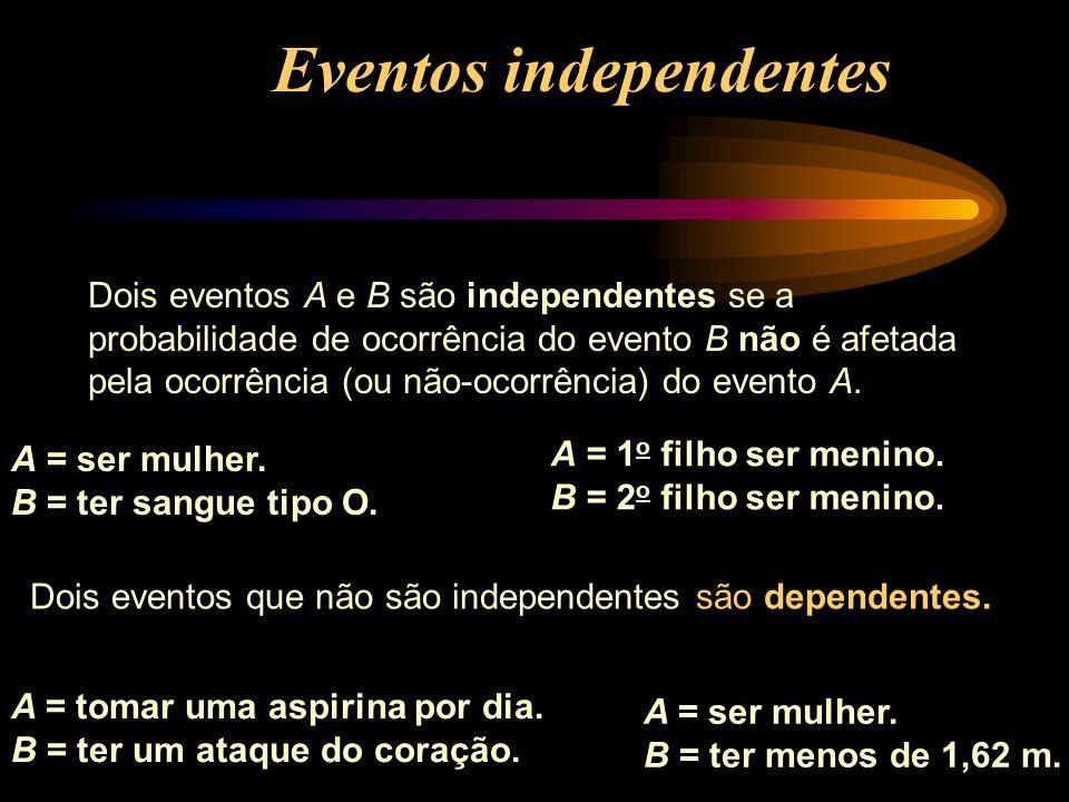 Dois eventos A e B são independentes se a probabilidade de ocorrência do evento B não é afetada pela ocorrência (ou não-ocorrência) do evento A. A = t