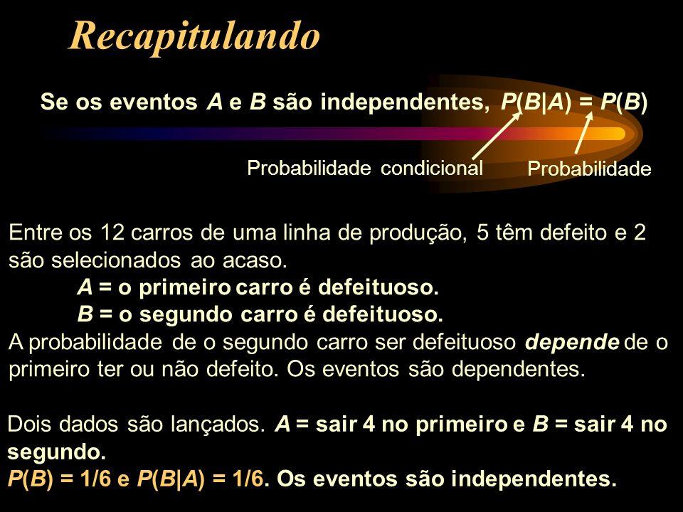 Se os eventos A e B são independentes, P(B|A) = P(B) Entre os 12 carros de uma linha de produção, 5 têm defeito e 2 são selecionados ao acaso. A = o p