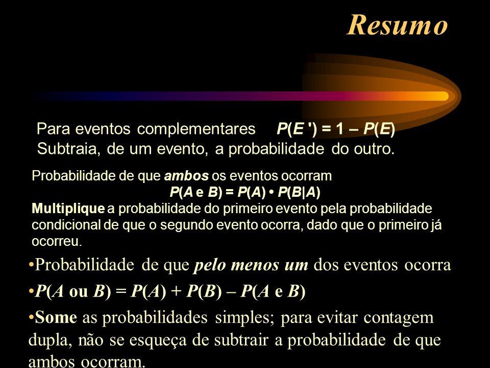 Probabilidade de que pelo menos um dos eventos ocorra P(A ou B) = P(A) + P(B) – P(A e B) Some as probabilidades simples; para evitar contagem dupla, n