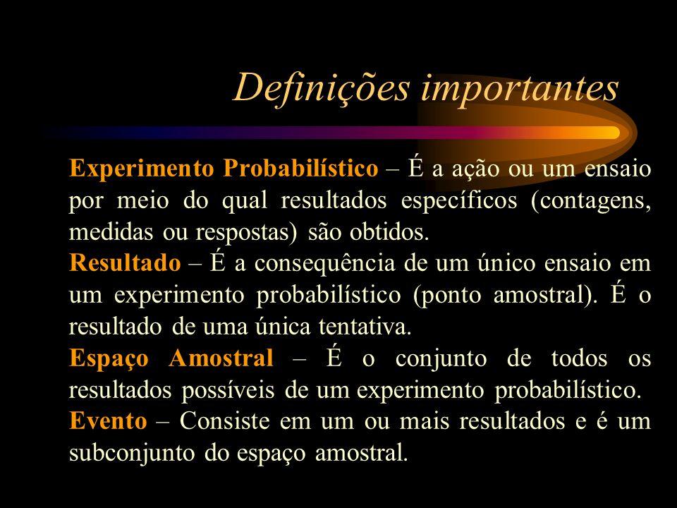 Experimento Probabilístico – É a ação ou um ensaio por meio do qual resultados específicos (contagens, medidas ou respostas) são obtidos. Resultado –