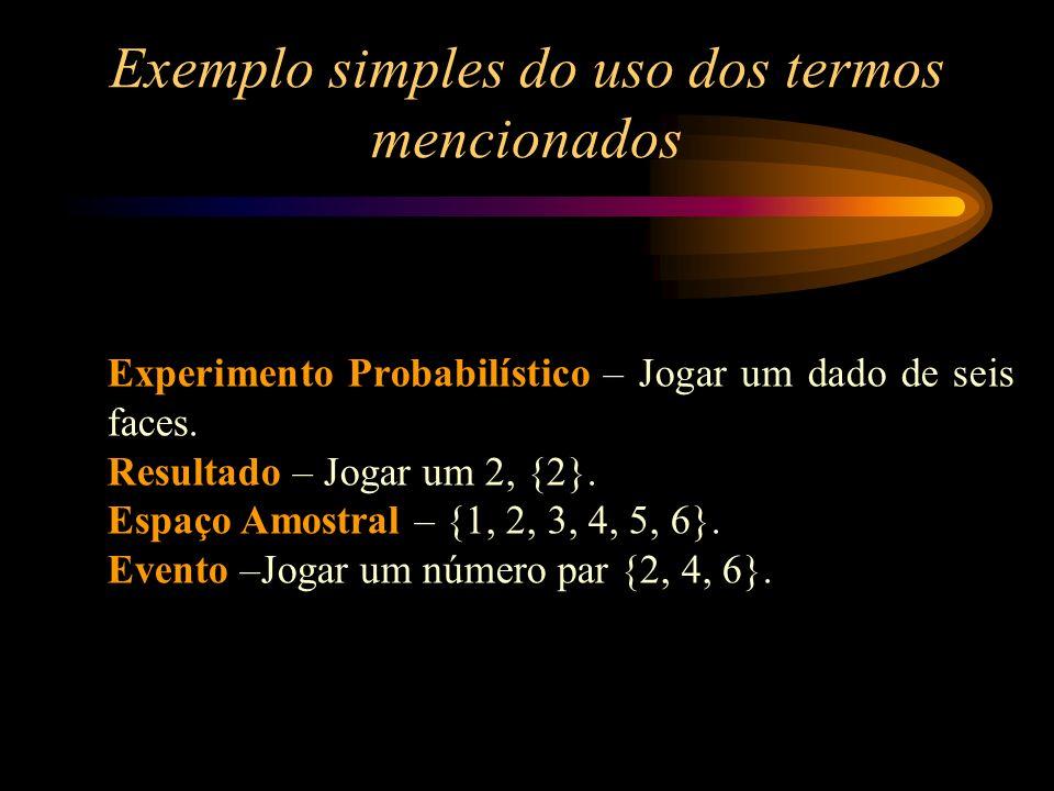 Exemplo simples do uso dos termos mencionados Experimento Probabilístico – Jogar um dado de seis faces. Resultado – Jogar um 2, {2}. Espaço Amostral –