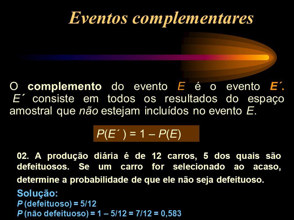 Eventos complementares O complemento do evento E é o evento E´. E´ consiste em todos os resultados do espaço amostral que não estejam incluídos no eve