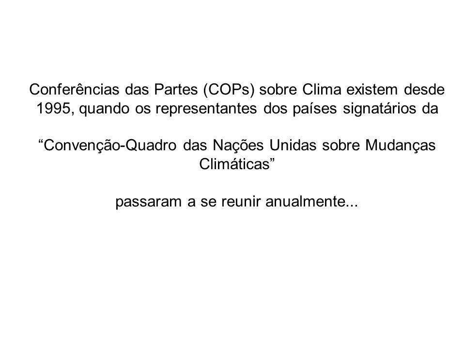 COP 1 – 1995 (Berlim, Alemanha) Iniciou o processo de negociação para a redução de emissões de gases de efeito estufa pelos países desenvolvidos.