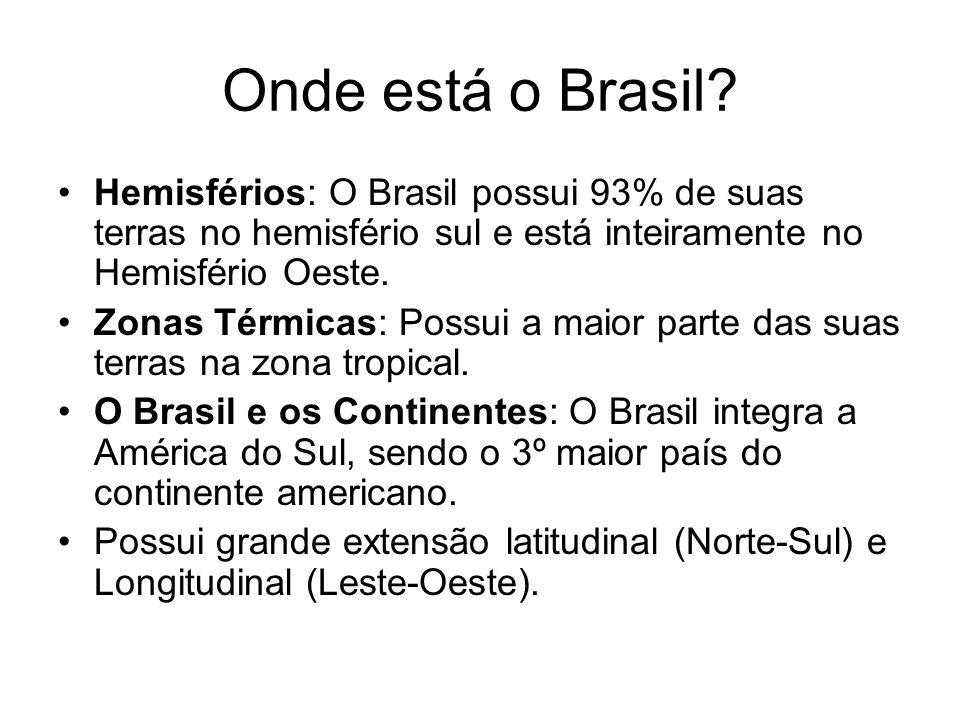 Onde está o Brasil? Hemisférios: O Brasil possui 93% de suas terras no hemisfério sul e está inteiramente no Hemisfério Oeste. Zonas Térmicas: Possui