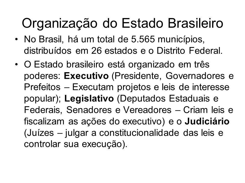 Organização do Estado Brasileiro No Brasil, há um total de 5.565 municípios, distribuídos em 26 estados e o Distrito Federal. O Estado brasileiro está