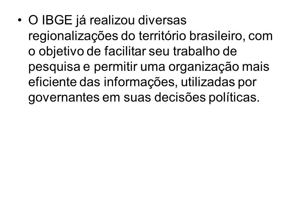 O IBGE já realizou diversas regionalizações do território brasileiro, com o objetivo de facilitar seu trabalho de pesquisa e permitir uma organização