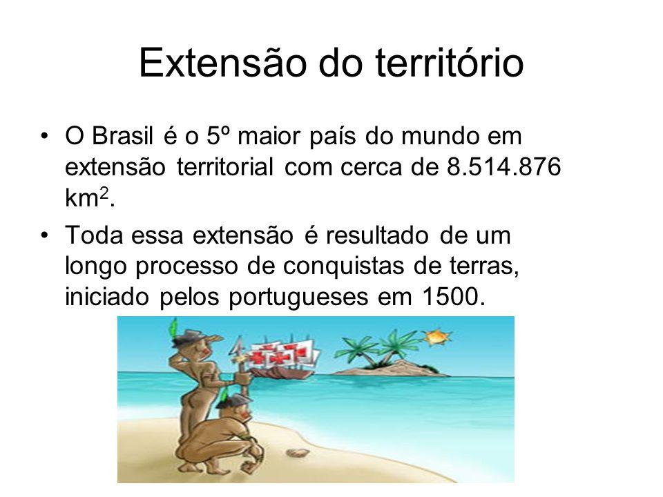 Extensão do território O Brasil é o 5º maior país do mundo em extensão territorial com cerca de 8.514.876 km 2. Toda essa extensão é resultado de um l