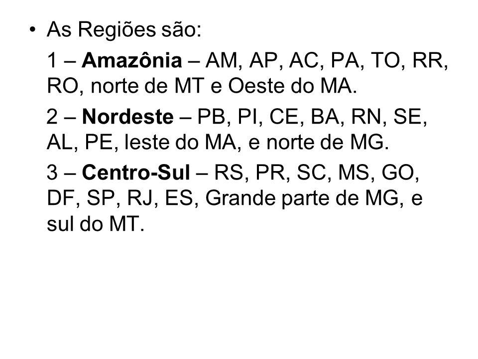 As Regiões são: 1 – Amazônia – AM, AP, AC, PA, TO, RR, RO, norte de MT e Oeste do MA. 2 – Nordeste – PB, PI, CE, BA, RN, SE, AL, PE, leste do MA, e no