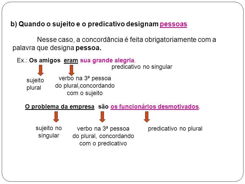 b) Quando o sujeito e o predicativo designam pessoas Nesse caso, a concordância é feita obrigatoriamente com a palavra que designa pessoa. Ex.: Os ami