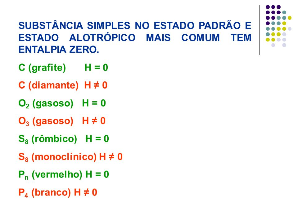 SUBSTÂNCIA SIMPLES NO ESTADO PADRÃO E ESTADO ALOTRÓPICO MAIS COMUM TEM ENTALPIA ZERO. C (grafite) H = 0 C (diamante) H 0 O 2 (gasoso) H = 0 O 3 (gasos