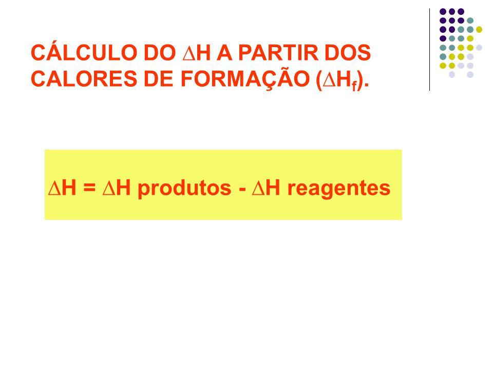 CÁLCULO DO H A PARTIR DOS CALORES DE FORMAÇÃO ( H f ). H = H produtos - H reagentes