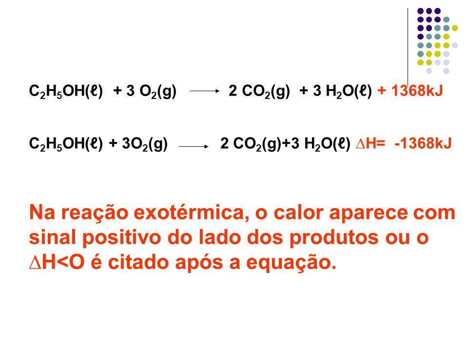 C 2 H 5 OH() + 3 O 2 (g) 2 CO 2 (g) + 3 H 2 O() + 1368kJ C 2 H 5 OH() + 3O 2 (g) 2 CO 2 (g)+3 H 2 O() H= -1368kJ Na reação exotérmica, o calor aparece