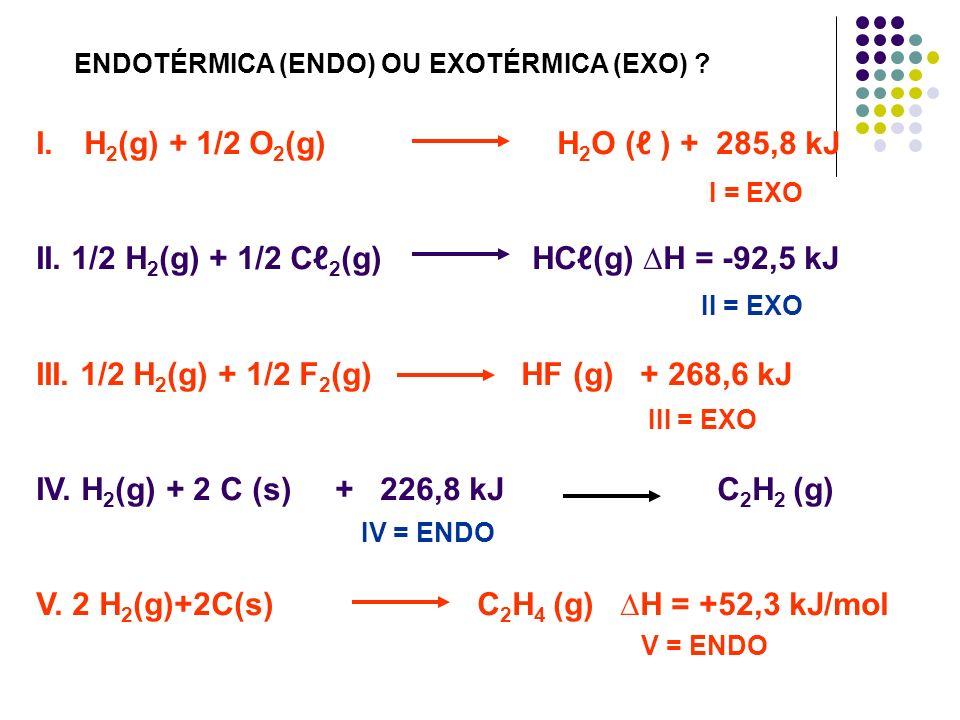 I.H 2 (g) + 1/2 O 2 (g) H 2 O ( ) + 285,8 kJ II. 1/2 H 2 (g) + 1/2 C 2 (g) HC(g) H = -92,5 kJ III. 1/2 H 2 (g) + 1/2 F 2 (g) HF (g) + 268,6 kJ IV. H 2