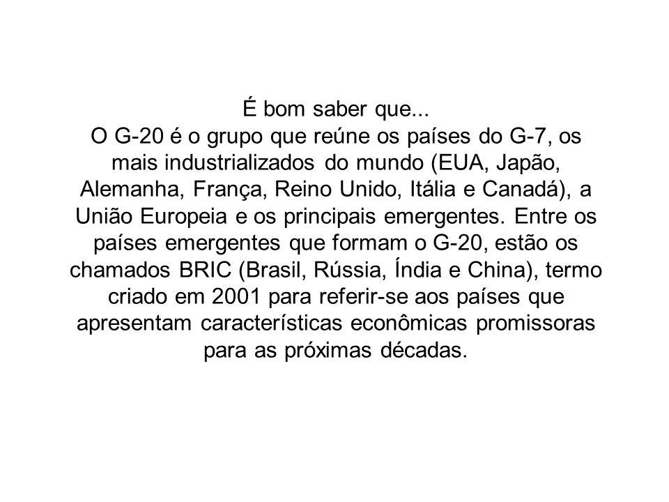 Seria a vez dos BRIC, sigla criado em novembro de 2001 pelo economista Jim O´Neill, do grupo Goldman Sachs, criou o termo para designar os 4 (quatro) principais países emergentes do mundo: Brasil, Rússia, Índia e China Vídeo: Jim ONeill 5:20